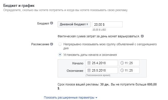 дневной бюджет рекламной кампании facebook