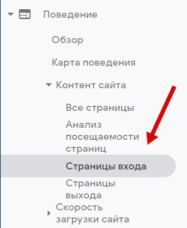 google analytics отчет страницы входа