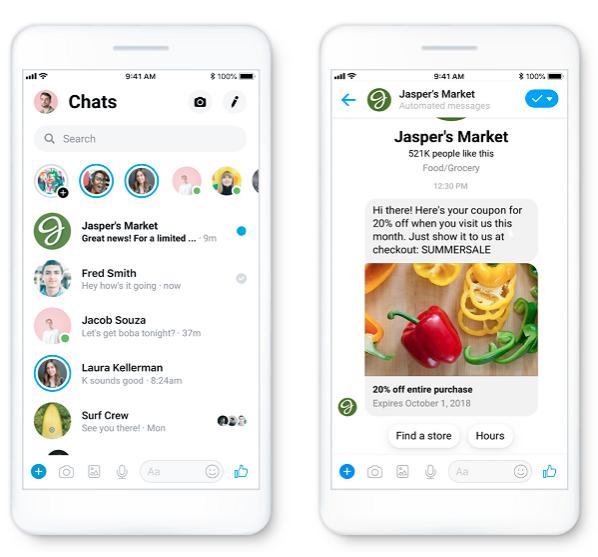 Места размещения Рекламные сообщения в Messenger
