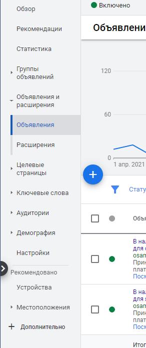 объявления google ads меню