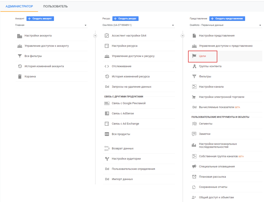 Цели в Google Analytics