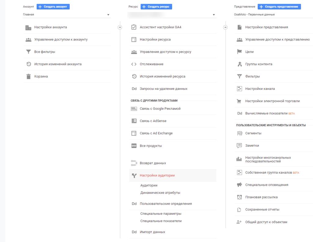 как пользоваться гугл аналитикой - настройки аудитории